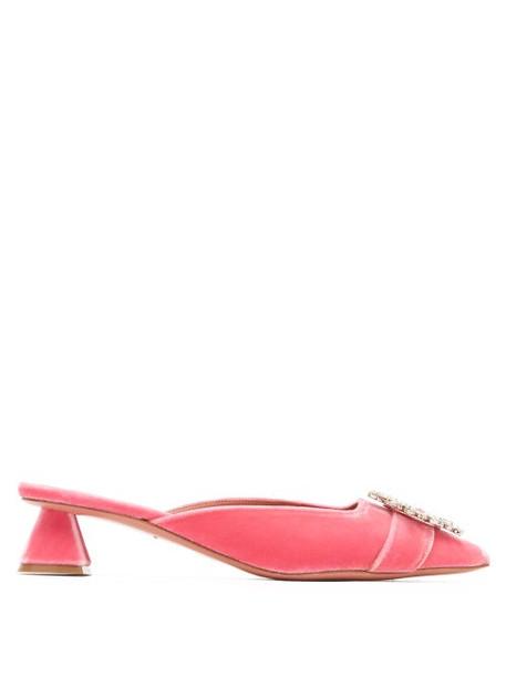 Amina Muaddi - Begum Crystal Embellished Velvet Mules - Womens - Pink