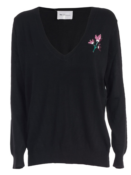 Be Blumarine Sweater V Neck One Embroidered Flower in nero