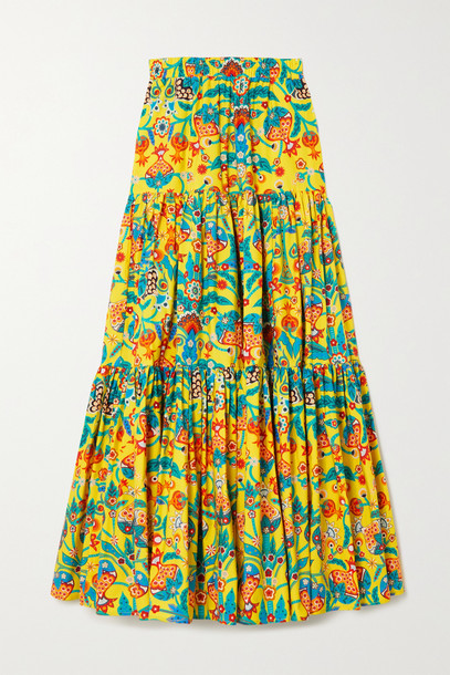 La Double J - Printed Tiered Cotton-poplin Maxi Skirt - Yellow