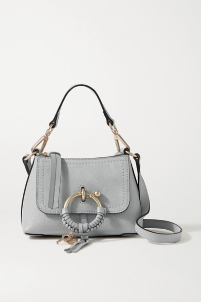 See By Chloé See By Chloé - Joan Mini Suede-trimmed Textured-leather Shoulder Bag - Light gray