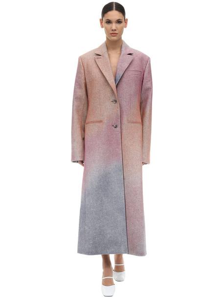 NINA RICCI Spray One Breast Wool Gabardine Coat in pink / multi