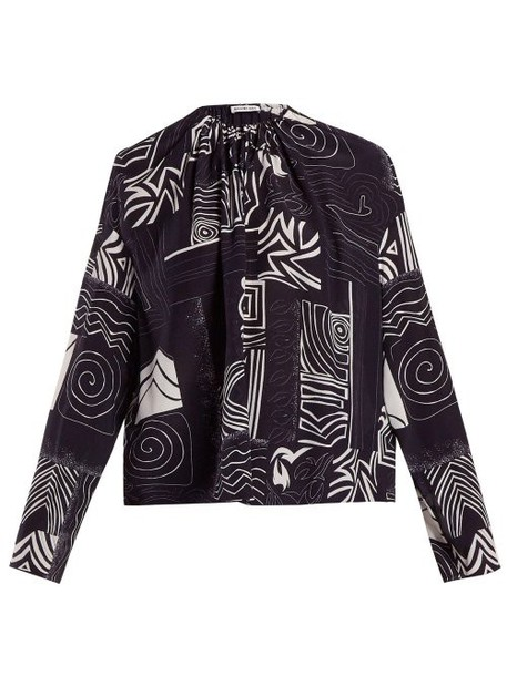 Balenciaga - Abstract Print Silk Blouse - Womens - Navy Print