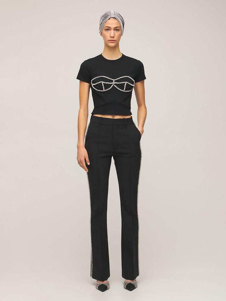 AREA Flared Crepe Slim Pants W/ Crystals in black