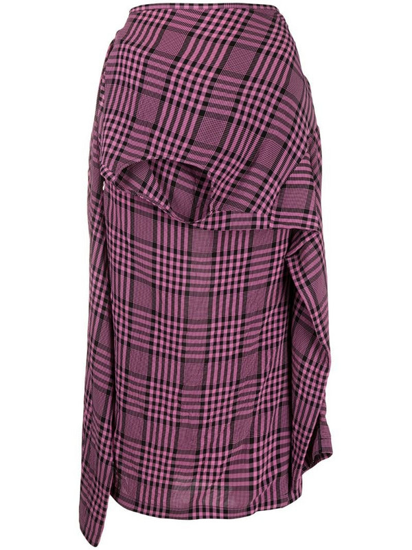 colville plaid asymmetric shirt-style skirt in pink