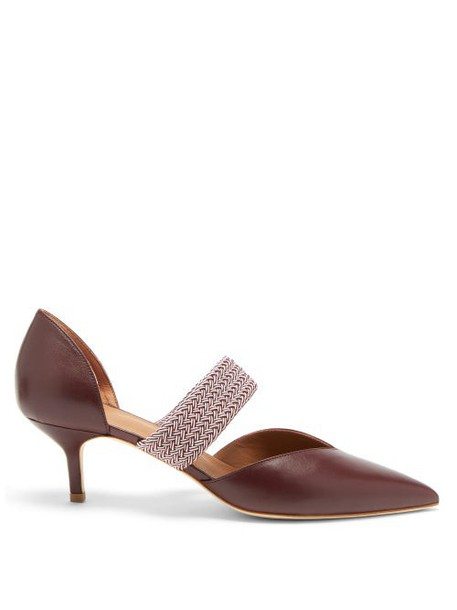 Malone Souliers - Maisie Point-toe Leather Pumps - Womens - Burgundy