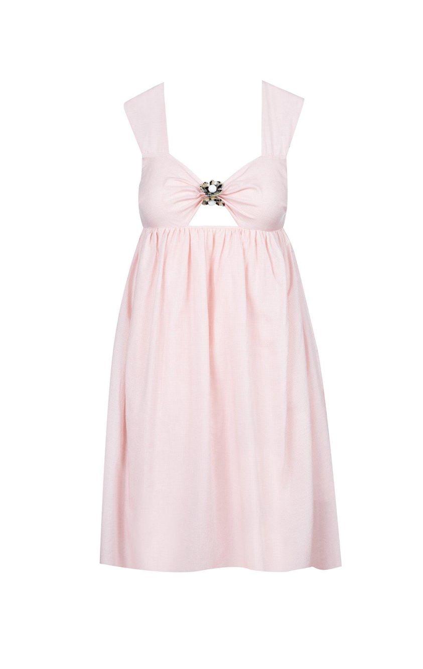Marysia | Mini East Hampton Babydoll Dress in Lemonade Gingham | Swim and Resort Wear