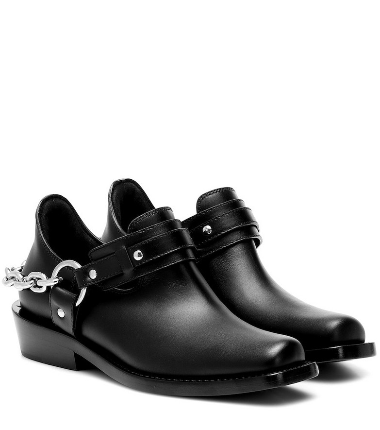 Paco Rabanne Moto leather ankle boots in black