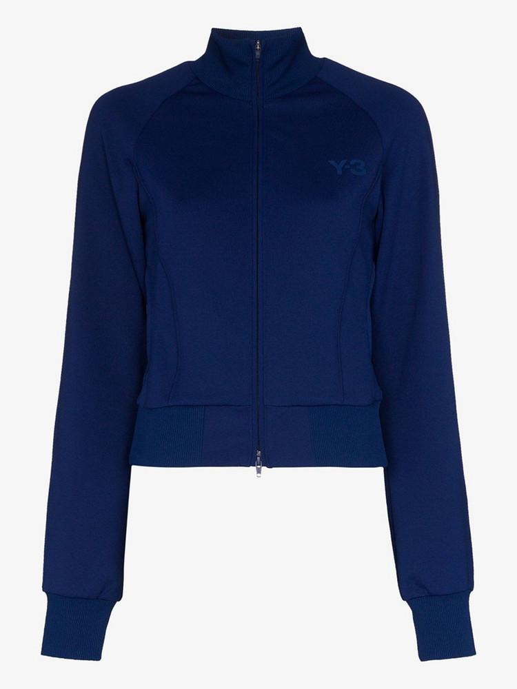 Y-3 jersey logo track jacket in blue