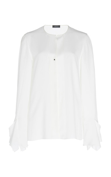 Akris Button-Down Silk Blouse Size: 2 in white