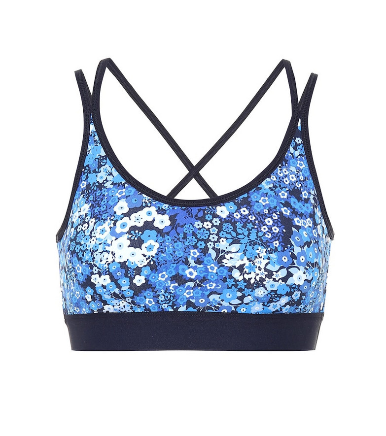 Tory Sport Floral printed sports bra in blue