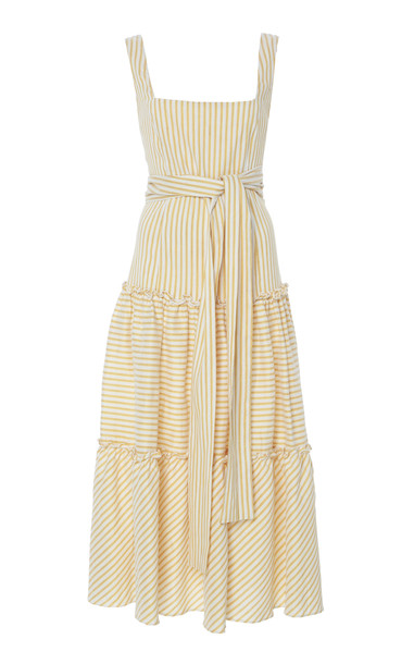 Luisa Beccaria Midi Self Tie Stripe Dress Size: 52