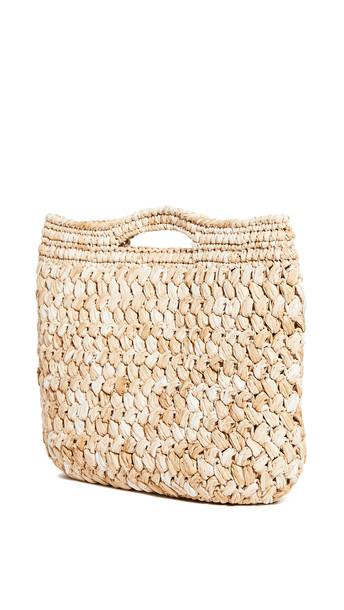 Caterina Bertini Woven Tote Bag in beige