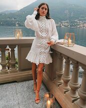 dress,white dress,long sleeve dress,turtleneck dress,zimmermann,sandal heels