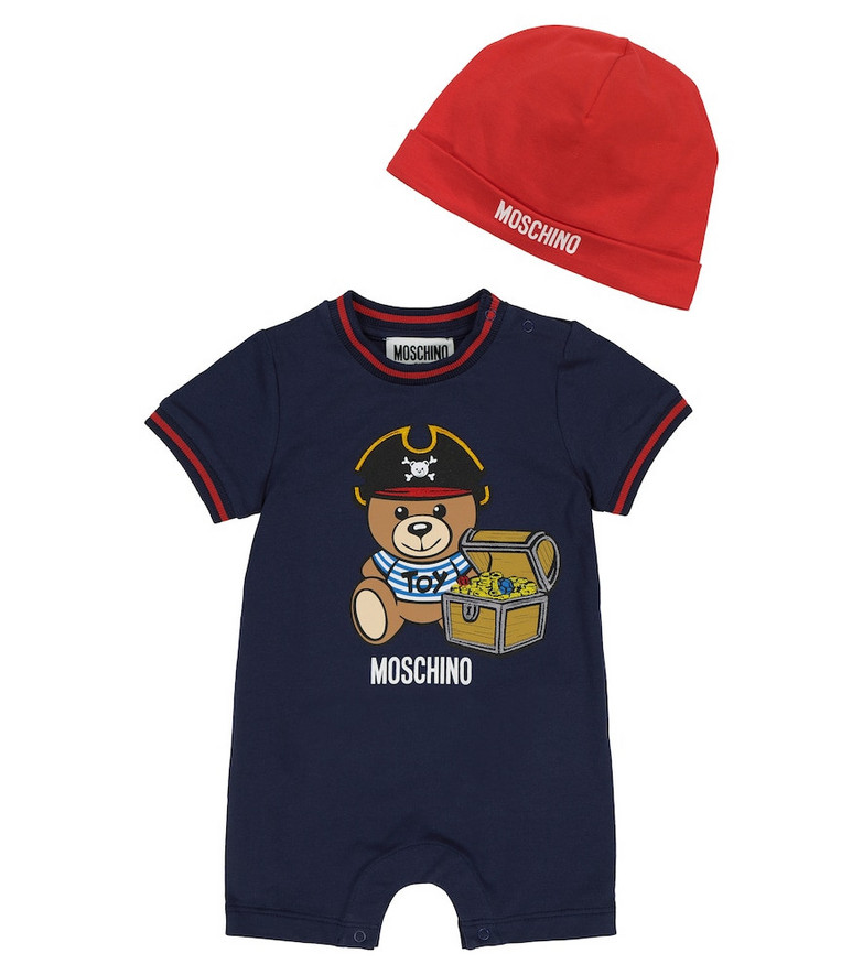 Moschino Kids Baby stretch-cotton playsuit and hat set in blue