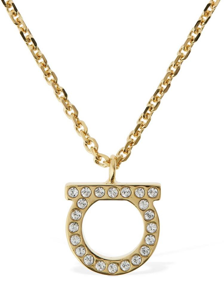 SALVATORE FERRAGAMO Crystal Gancio Charm Necklace in gold