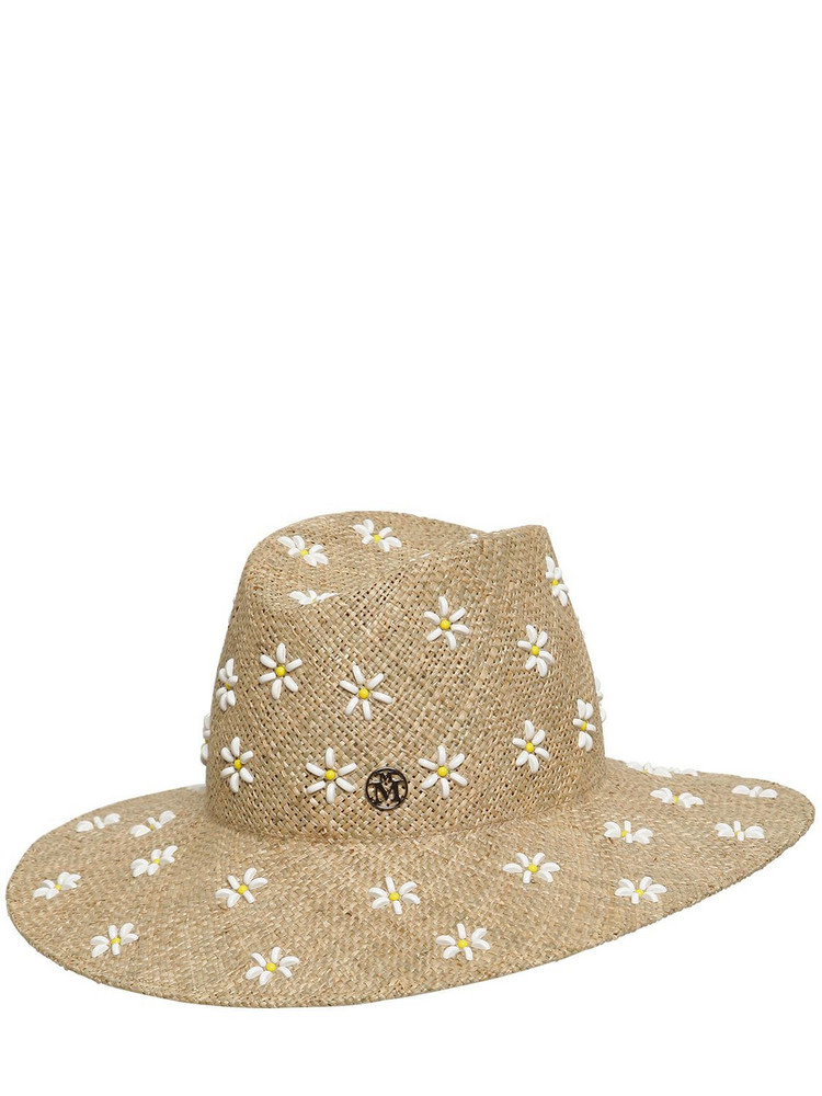 MAISON MICHEL Kate Daisy Embroidered Straw Hat in natural