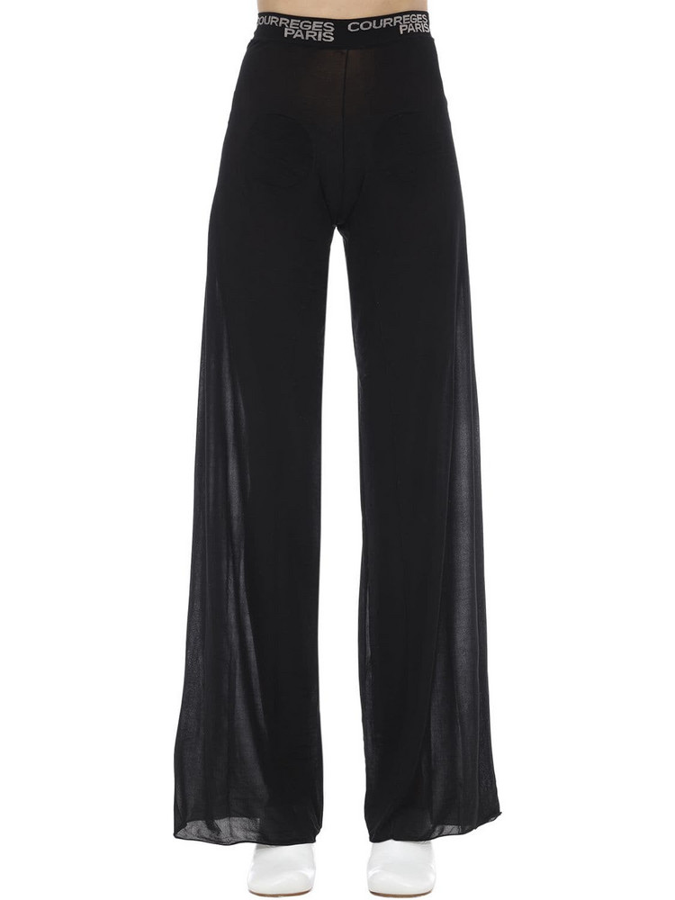 COURREGES Wide Leg Patched Mesh Pants in black