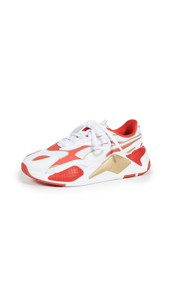 PUMA RS-X3 Varsity Sneakers in gold / red / white