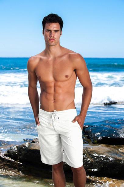 shorts mens sauvage activewear white linen white bikiniluxe