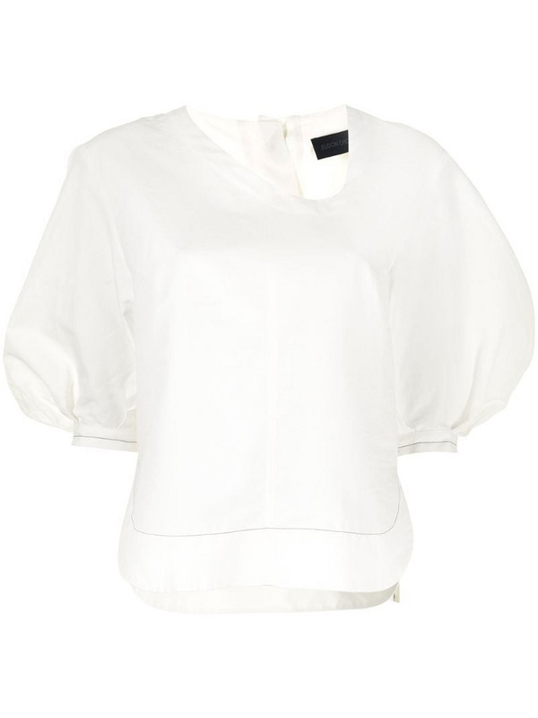 Eudon Choi asymmetric-neck puff-sleeve blouse in white