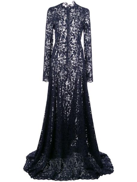 Oscar de la Renta flared-skirt lace gown in blue