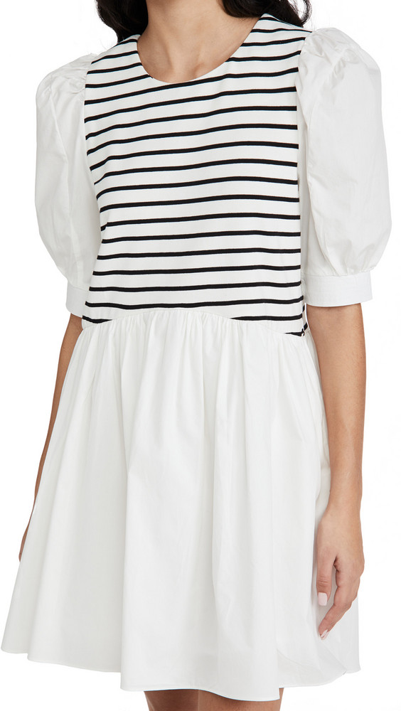 ENGLISH FACTORY High Low Stripped Knit Combo Dress in white