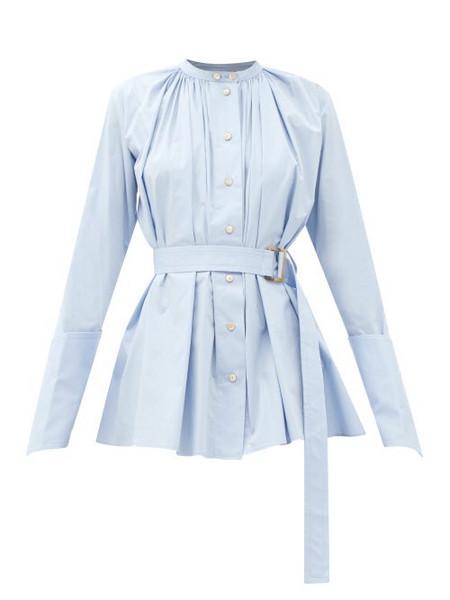 Palmer/harding Palmer//harding - Aurita Gathered Belted Cotton-blend Shirt - Womens - Light Blue