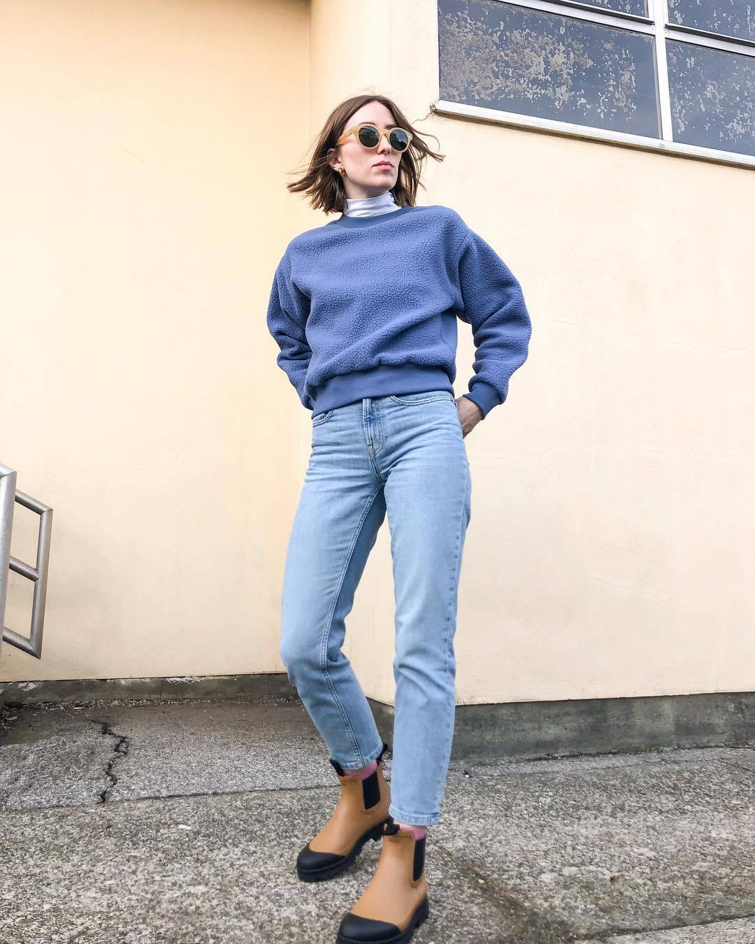 shoes brown boots ankle boots straight jeans high waisted jeans blue sweater white turtleneck top sunglasses