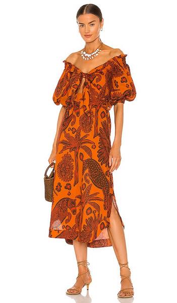 Johanna Ortiz Dramatic Sunset Midi Dress in Burnt Orange in tan / red