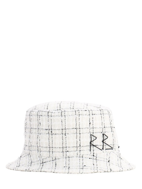 RUSLAN BAGINSKIY Tweed Bucket Hat in white