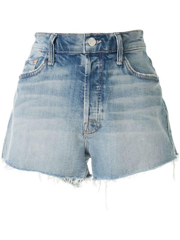 Mother frayed denim shorts in blue