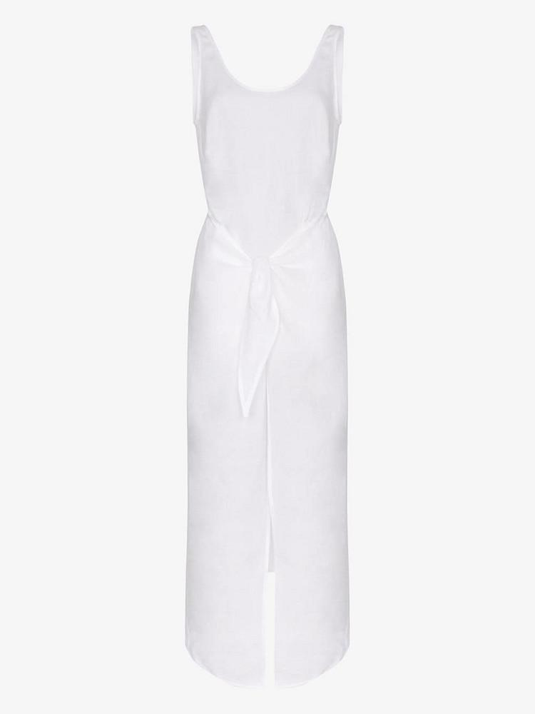 Anemone Tie front scoop neck midi dress in white
