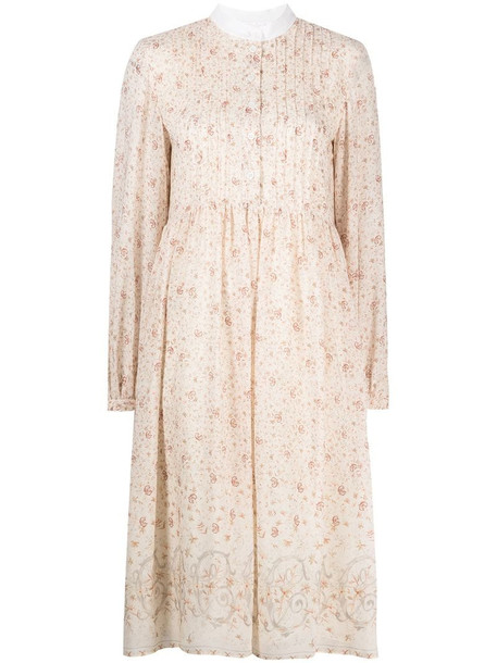 Chloé floral print midi dress in neutrals