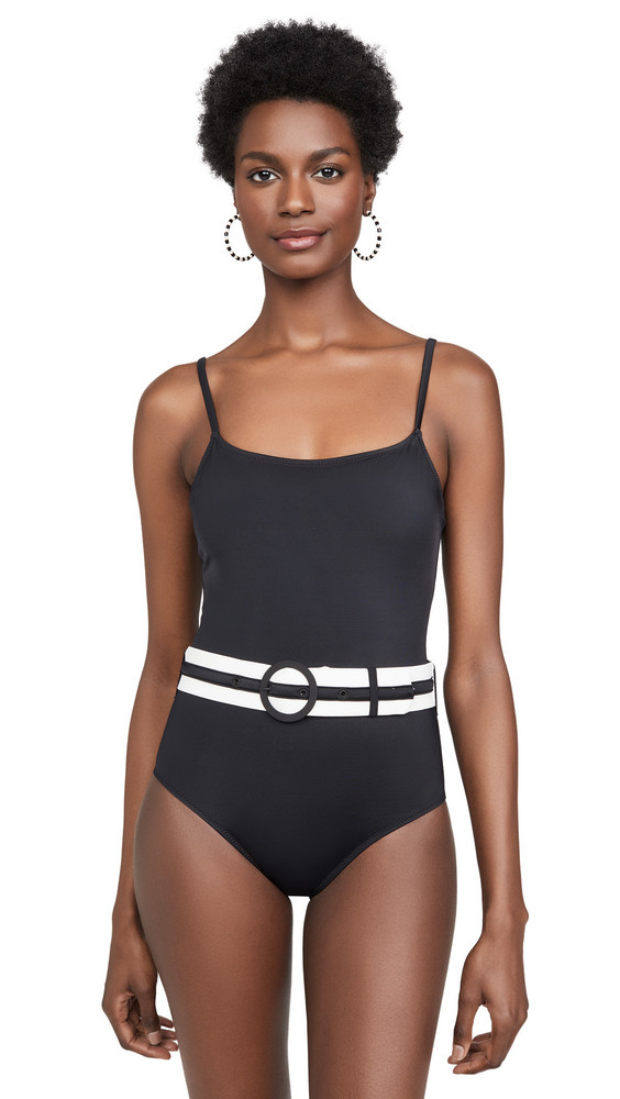 Solid & Striped The Nina Belted One Piece Swimsuit in black
