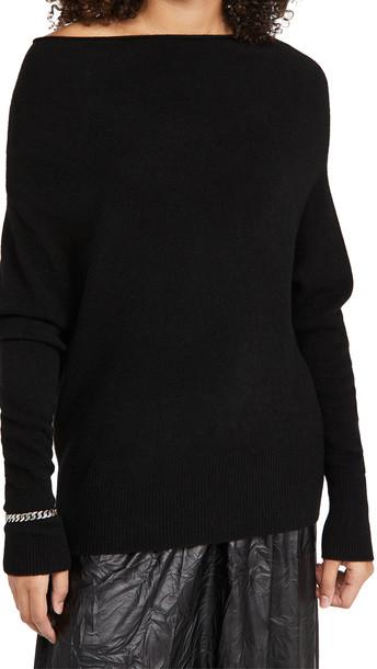 Brochu Walker Lori Off Shoulder Cashmere Sweater in black