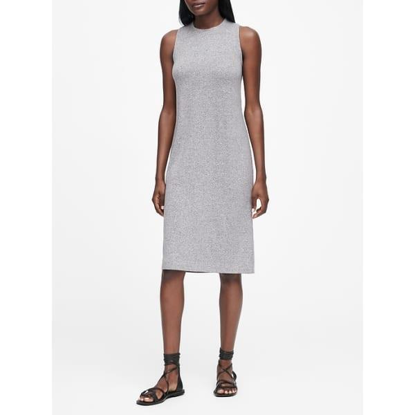 Banana Republic Women's Luxespun Twist-Back Dress Heather Gray Big And Tall Size M