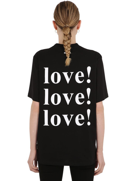 MSGM Love Printed Cotton Jersey T-shirt in black