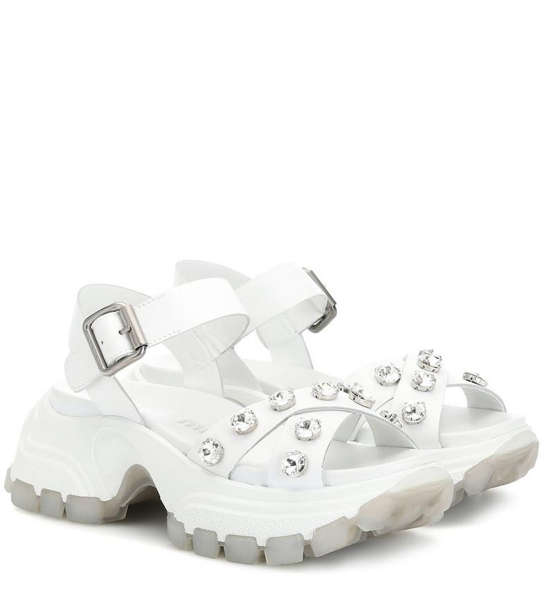 Miu Miu Embellished leather sandals in white