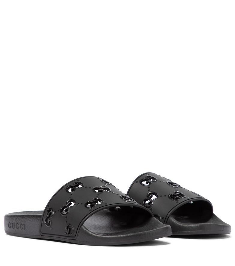 Gucci GG rubber slides in black