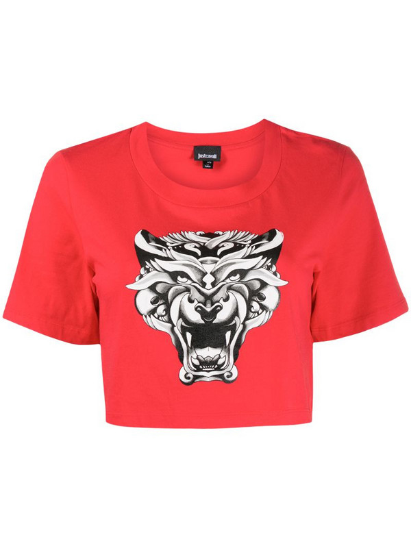 Just Cavalli tiger-print cropped T-shirt in red
