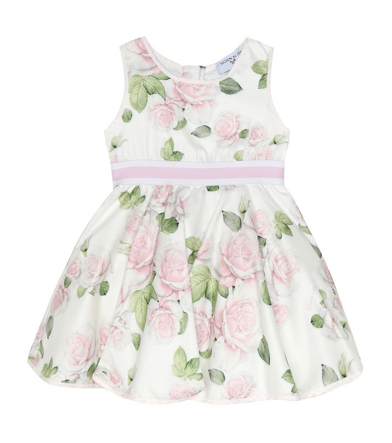 Monnalisa Baby floral cotton dress in white