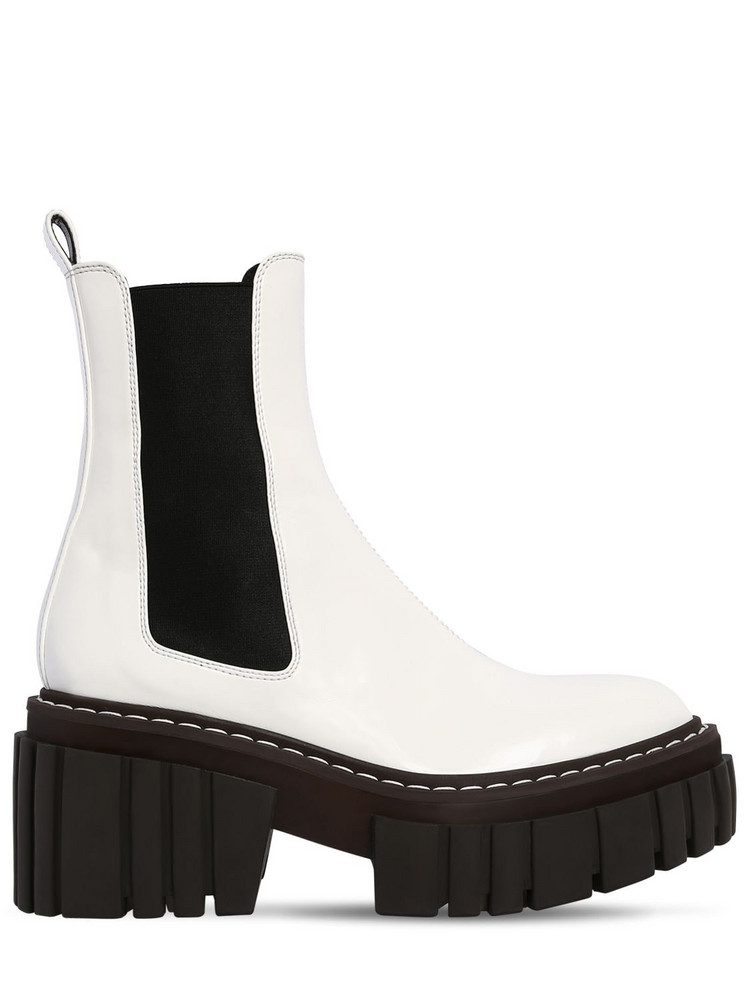 STELLA MCCARTNEY 60mm Faux Patent Leather Ankle Boots in white
