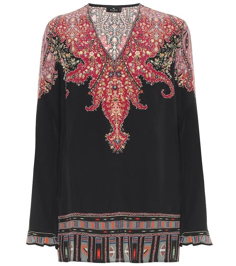 Etro Paisley silk top in black