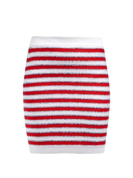 Balmain - Stripes And Sequins Knit Skirt - Womens - Red Multi