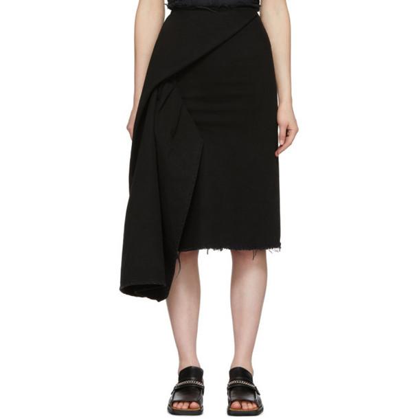 Marques Almeida Black Denim Side Drape Skirt