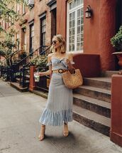 bag,woven bag,midi dress,off the shoulder dress,striped dress,sandal heels