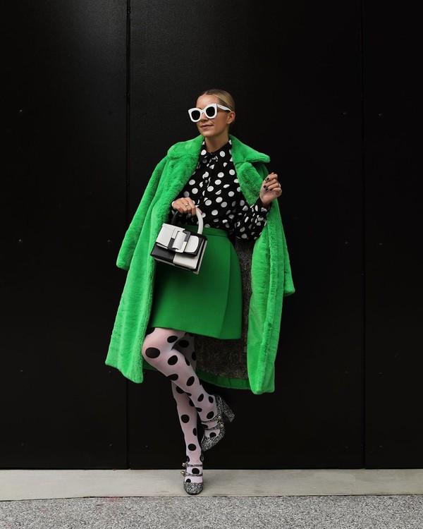 coat faux fur coat top black shirt polka dots tights mini skirt handbag