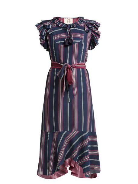 Figue - Tessa Asymmetric Striped Silk Midi Dress - Womens - Blue Multi