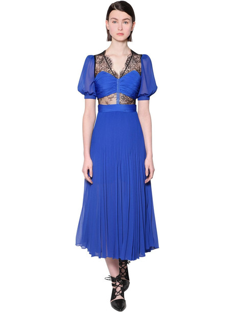 SELF-PORTRAIT Chiffon & Lace Midi Dress in blue