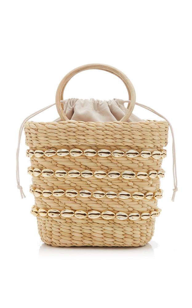 Poolside Embellished Straw Top-Handle Bag in ivory